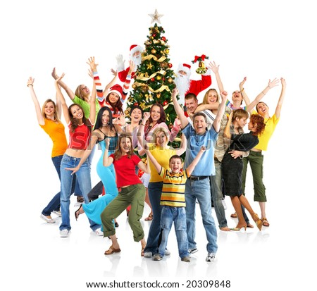 Happy People, Santa and Christmas tree. Over white background - stock photo