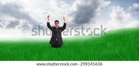 Happy people take rest on beauty field - stock photo