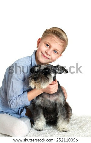 Happy person and her faithful dog over white background  - stock photo