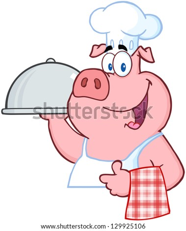 Happy Pig Chef Holding A Platter Sign. Raster Illustration. - stock photo