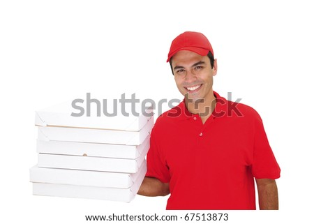 happy pizza delivery man isolated on white - stock photo
