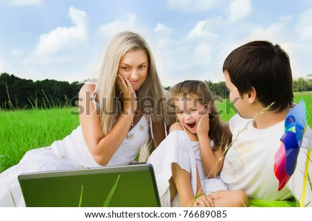 happy playful family enjoy outdoors