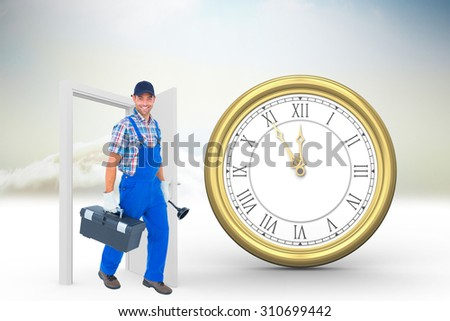 Happy plumber with plunger and toolbox walking on white background against open door in sky - stock photo