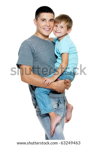 Happy portrait of the father and son of six years. Isolated on white - stock photo