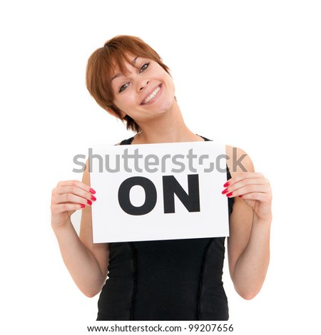 happy portrait young woman with board ON