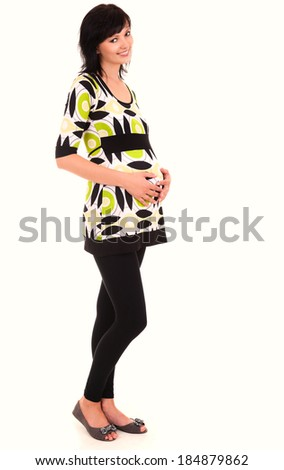 Happy Pregnancy, pregnant young woman, white background - stock photo