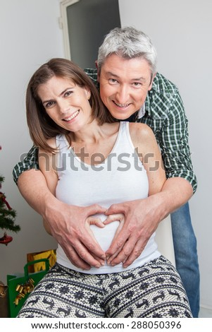 Happy pregnant and man