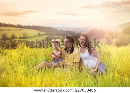 Happy pregnant family with little daughter spending time together sitting in grass in summer nature - stock photo