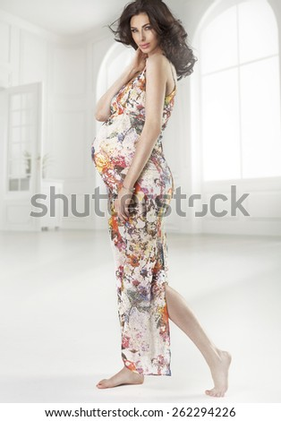 Happy pregnant woman - stock photo