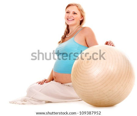 Happy pregnant woman do fitness sport. Isolated.