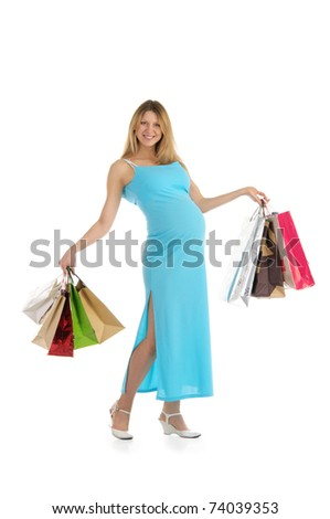 happy pregnant woman with shopping isolated on white