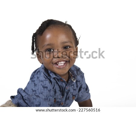Happy preschool toddler isolated on a white background - stock photo