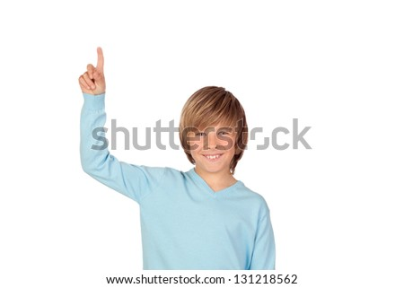 Happy preteen boy asking to speak isolated on a over white background - stock photo