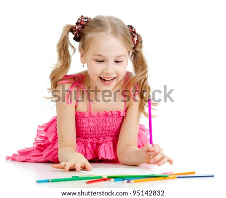 happy pretty girl drawing with pencils - stock photo