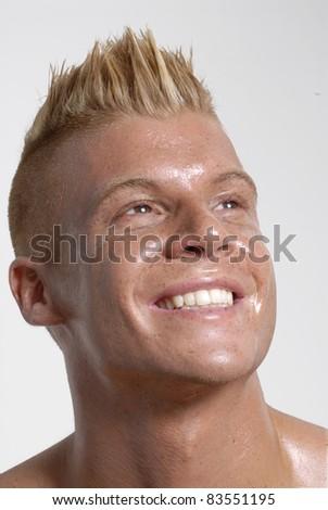 Happy punk style man portrait. - stock photo