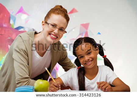 Happy pupil and teacher against colourful abstract design - stock photo