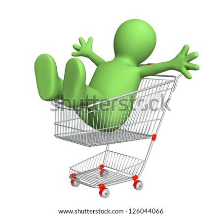 Happy puppet in shopping cart. Isolated over white
