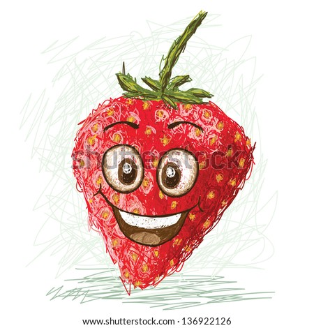 happy red cartoon strawberry fruit character smiling.