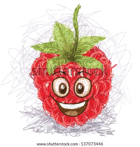 happy red raspberry cartoon character smiling.