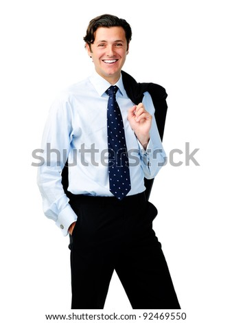 Happy relieved businessman stands with his jacket over his shoulder