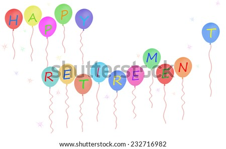 Happy retirement party balloons.With starbursts.White background. - stock photo