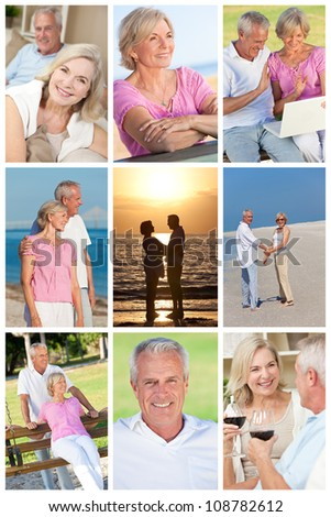Happy retirement senior man and woman couple active romantic vacation together in summer sunshine - stock photo