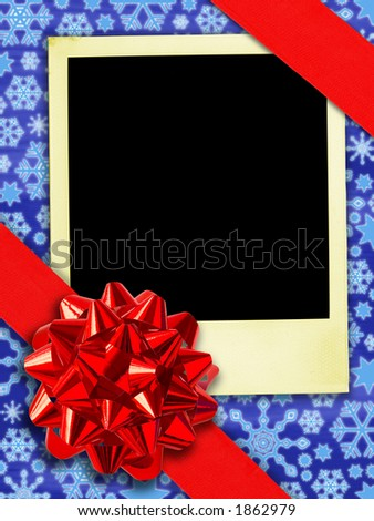 Happy Returns: Christmas. (Aged instant photo And Gift Ribbon Over Snowflakes Background. (With clipping path for easy framing your picture)) - stock photo