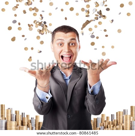 happy rich businessman enjoying success throws up many coins isolated on white background - stock photo