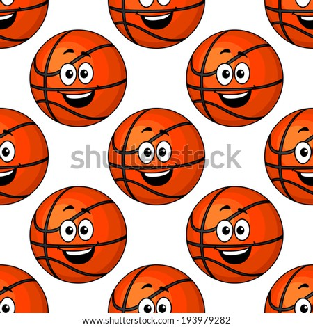 Happy round smiling orange basketball balls repeat colourful seamless pattern. Vector version also available in gallery - stock photo