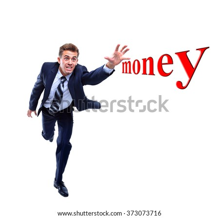 Happy running businessman. Isolated on white background. - stock photo