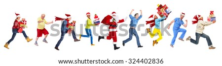 Happy running Christmas people isolated white background
