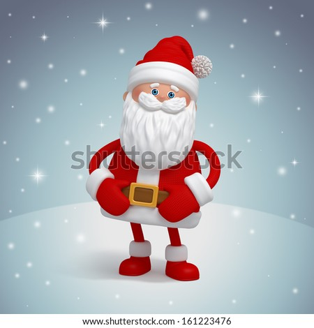happy Santa Claus 3d character, winter background - stock photo