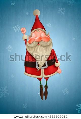 Happy Santa Claus flies on snow flake background - stock photo