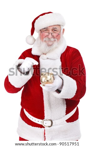 happy Santa Claus pointing gold piggy bank, isolated on white background - stock photo