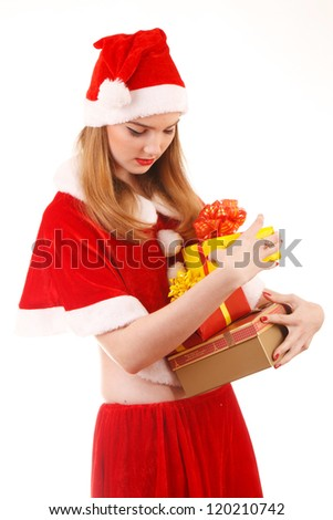 happy santa girl with gifts in their hands