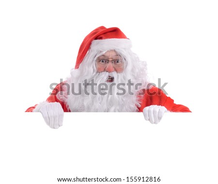 happy Santa popping up over white copy space isolated on a white background