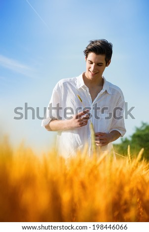 Happy, satisfied, young man standing in the wheat field, looking down, holding an ear of wheat.Sunset light, vertical , summer season - stock photo