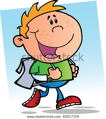 Happy School Boy.Raster illustration. Vector version is also available