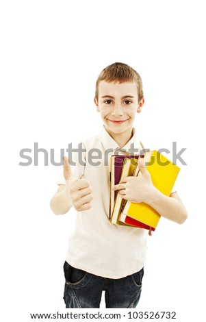 Happy school boy with thumbs up. Isolated on white background. - stock photo