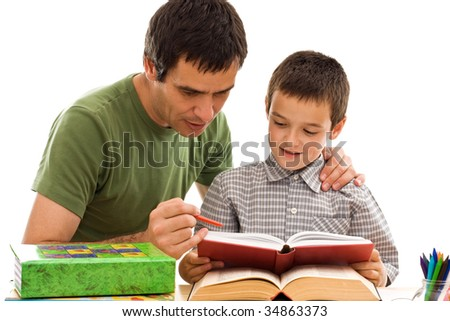 Happy schoolboy and his father learning together - isolated - stock photo