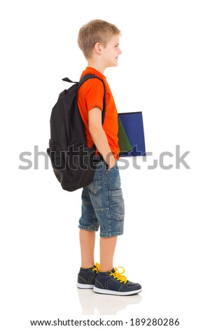 happy schoolboy going to school isolated on white - stock photo
