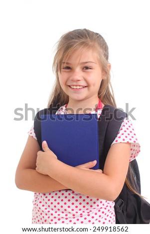 happy schoolgirl on a white background - stock photo