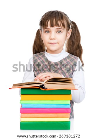 Happy schoolgirl with stack books. isolated on white background