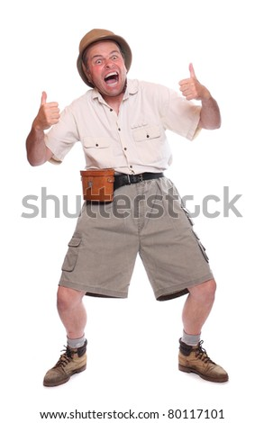 Happy screaming traveler showing his thumb up. - stock photo