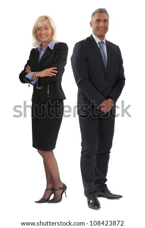 Happy senior business couple - stock photo