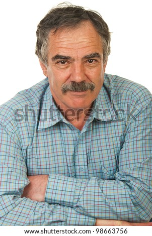 Happy senior business man with arms folded isolated on white background - stock photo