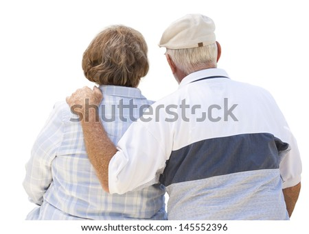 Happy Senior Couple From Behind Isolated on White. - stock photo