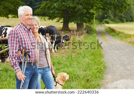 Happy senior couple hiking with dog in nature in summer - stock photo