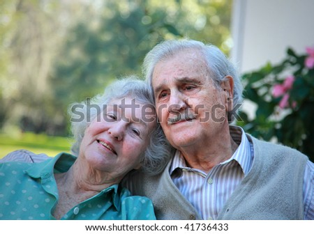 Happy senior couple of 79 and 84 years old, married for 63 years as of the date this photo was taken. - stock photo