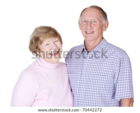 Happy senior couple portrait isolated on white - stock photo